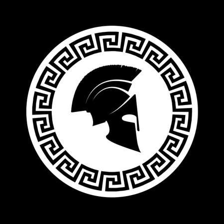 pictogram silhouet van de Spartaanse soldaat Stock Illustratie