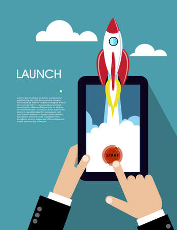 Flat rocket icon. concept of new business project and launch a new innovation product on a market. Stock Illustratie