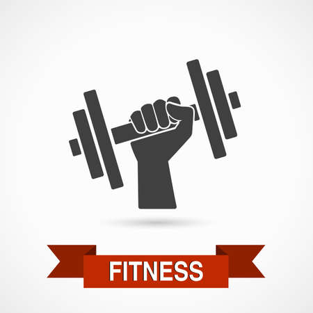 weightlifter: Vector illustration single isolated icon, Fitness design