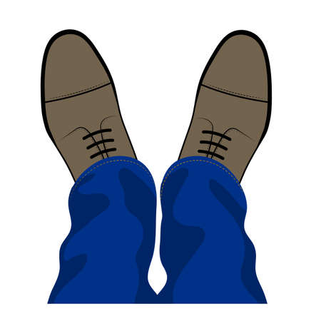 leather pants: Pair of feet and shoes on a white background Illustration