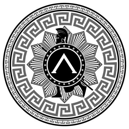 spartan: label with the Greek pattern. silhouette of the Spartan soldier