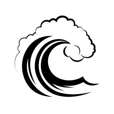 wave icon: ocean wave on a white background Illustration