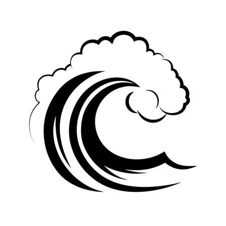 olas de mar: ola del mar sobre un fondo blanco