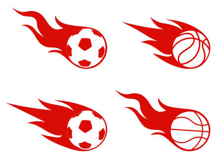 basketball ball on fire: flight of a ball, sports symbol