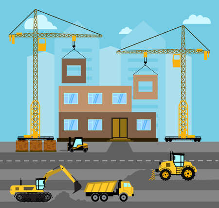Construction. Process building.Industrial landscape Vector flat illustration.