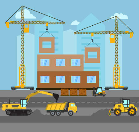 materiales de construccion: Construction. Process building.Industrial landscape Vector flat illustration.