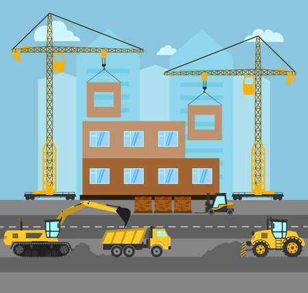Construction. Process building.Industrial landscape Vector flat illustration.