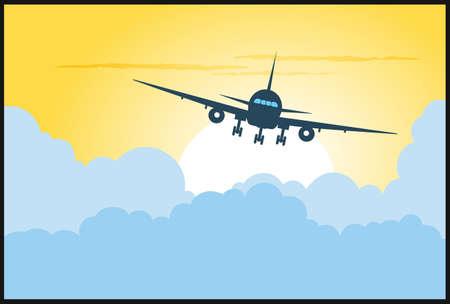 aereo: aereo che vola in cielo Vettoriali