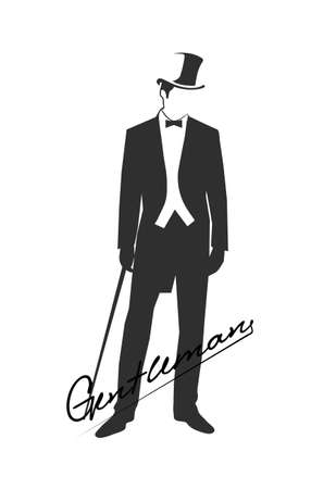 man illustration: silhouette of a gentleman in a tuxedo