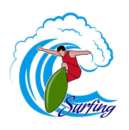 granola: Drawing surfer and big wave.