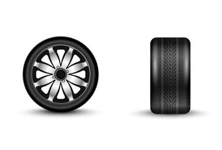 traction: automobile wheel 3D vector illustration