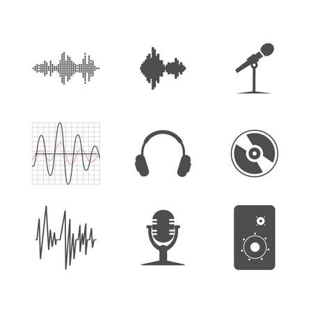 audio: set of musical icons Illustration