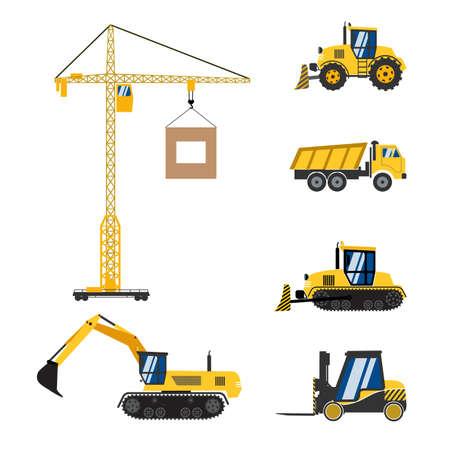 truck crane: construction equipment icons