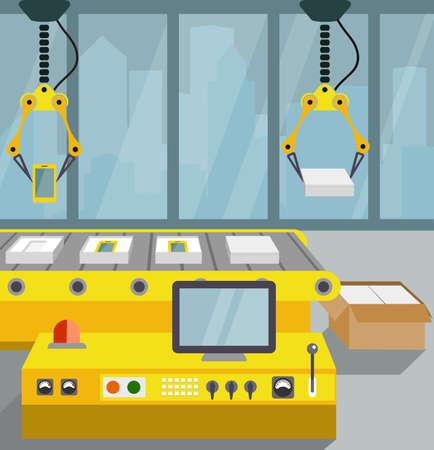 asamblea: línea robotizada de montaje de teléfono inteligente. estilo plano