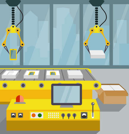 production line: robotized line on assembly of smartphone. flat style Illustration