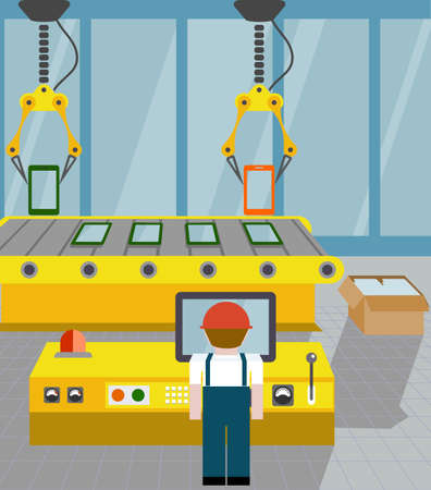 assembly line: robotized line on assembly of smartphone. flat style Illustration