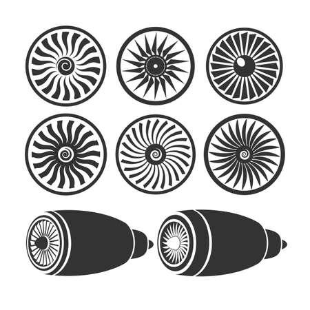 turbina: palas de turbinas del motor, los motores de avión siluetas monochromium Vectores