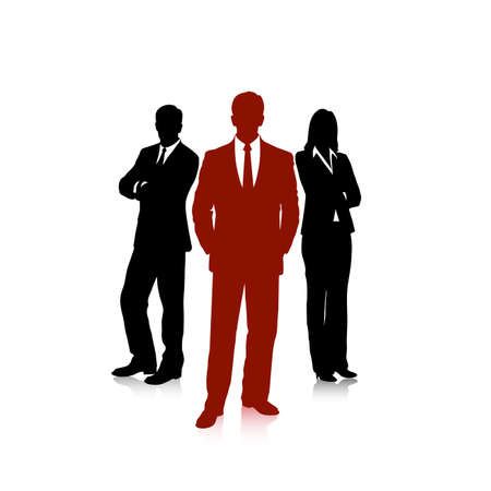 female boss: group of business people Illustration