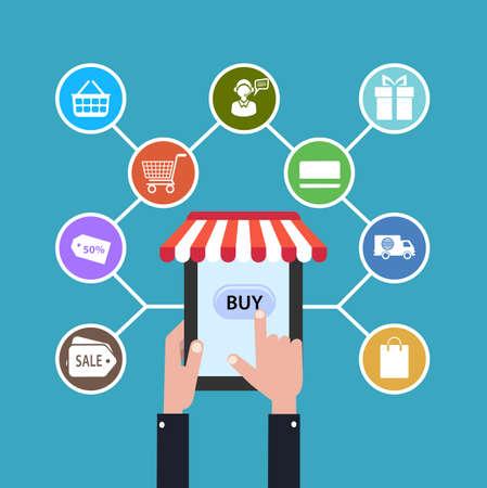 internet sale: icon online shop. sale Internet. flat style