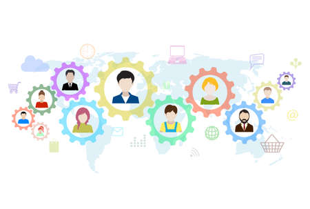 business gears: Concept of modern business and teamwork. Design background with avatars of people, gears, icons.