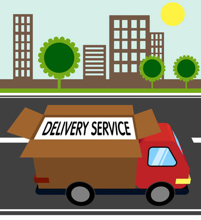 city landscape: automobile delivery service. city landscape. flat style