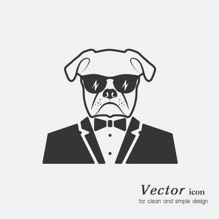 serious: icon a dog muzzle in a suit