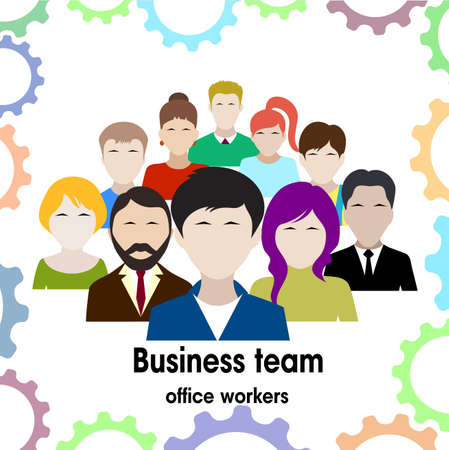 requirement: business team. group of office workers.