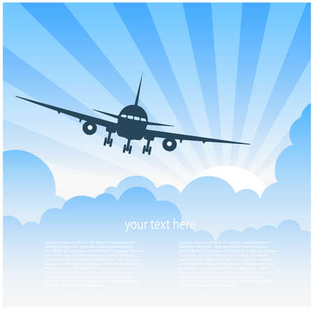 air travel: plane flying in clouds