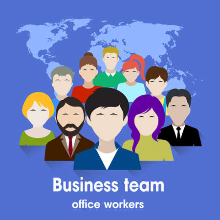 work team: business team. group of office workers.