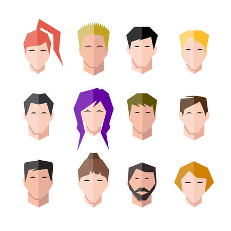 black hair: icons human face set