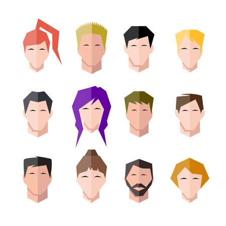 the human face: icons human face set
