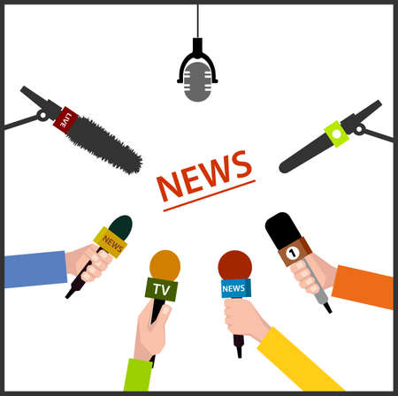 mass media: illustration in flat style. hands holding microphones.