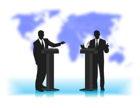 debate: debate people at a microphone on not a sharp background of the planet