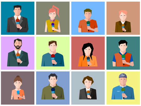 reporters: reporters icons, flat style