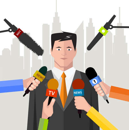 interview politician before a microphone. flat style