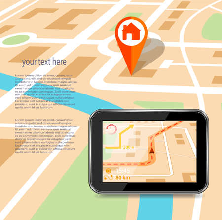 abstract city: GPS technology laying of a route travel, tourism navigation
