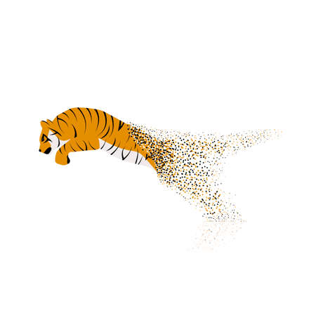 leaping: Tiger leaping from the disintegrated pieces