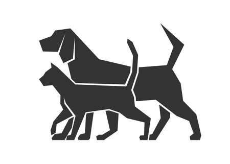 silueta de gato: icono de perros y gatos Vectores