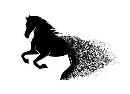 silueta humana: caballo corriente en el estilo grunge