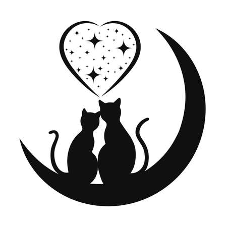 cat silhouette: cats in love