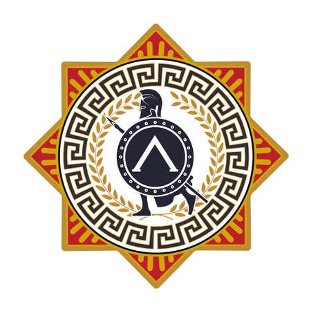 guerrero: etiqueta con el patrón griego. silueta del soldado Spartan