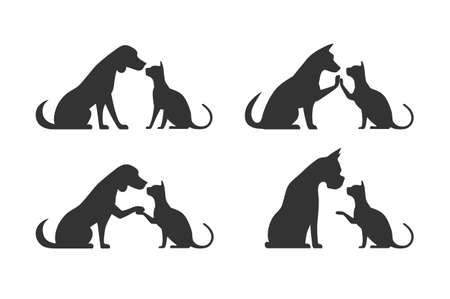 profile silhouette: Silhouettes of pets cat dog Illustration