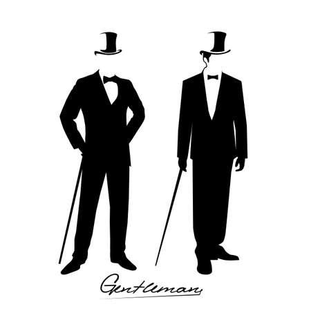 silueta hombre: silueta de un caballero con un esmoquin Vectores