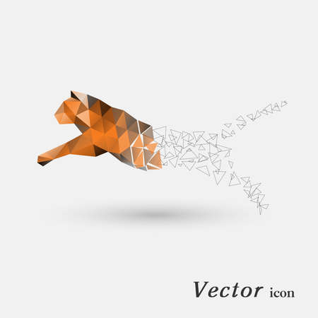 faced: Tiger of polygons Illustration