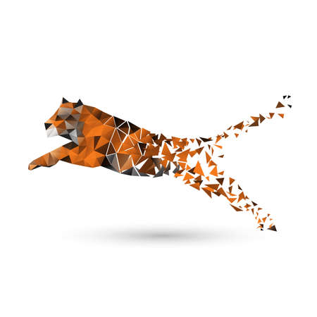 jumps: Tiger of polygons Illustration