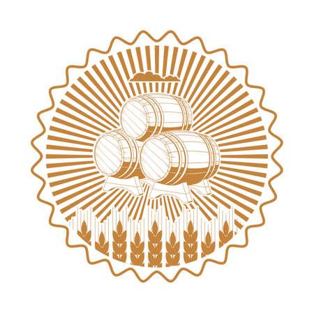 logos de empresas: etiqueta barril en los oídos del trigo.