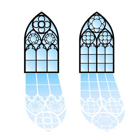 finestra: Finestre gotiche. Cornici d'epoca. Chiesa vetrate Vettoriali