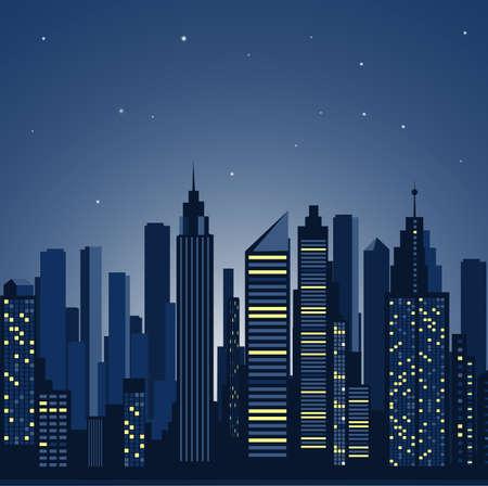 urban road: city landscape. panorama of the night city Illustration