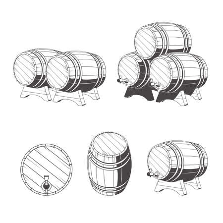 wine industry: Logo wooden barrels for storage of drinks. Old winery, storage of a hard liquor. Illustration