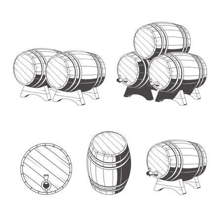 barrels: Logo wooden barrels for storage of drinks. Old winery, storage of a hard liquor. Illustration
